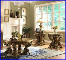 Ant Gold & Perfect Brown Coffee Table Set 3Pcs Traditional Homey Design HD-8008