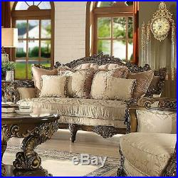 Ant Gold & Perfect Brown Living Room Set 3 Pcs Traditional Homey Design HD-1609