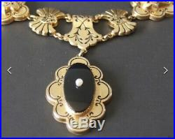 Antique Circa 1880 Victorian Gold Filled Necklace & Bracelet Set RARE PERFECT