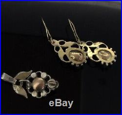 Antique Diamond Earrings Pendant Set Old Cut Mined Stones Gold 375 Perfect 1800s