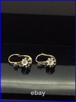 Antique Dormeuse Earrings Gold Gilt Trembleuse Paste Claw Set Stones Perfect1900