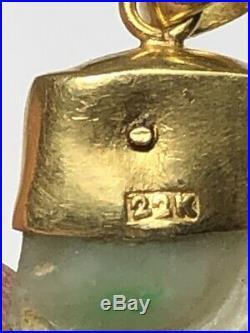 Antique Emerald Jadeite Pendant set in 22K Pure Solid Yellow Gold