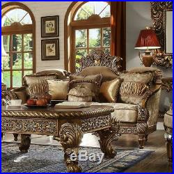 Antique Gold & Perfect Brown Coffee Table Set 3 Homey Design HD-8011 Traditional