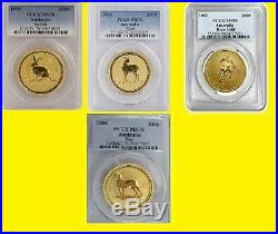 Australia Gold Lunar 4 Coins Set 4 Oz Pure Gold Pcgs Ms 70 Rare Low Pop