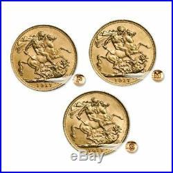 Australian 1917 Gold Sovereign 3 Coin Set Mintmark (P, M & S) 91.6% pure gold