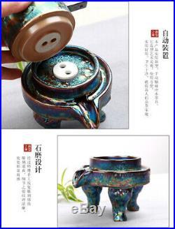 Automatic Tea set Kiln change colorful tea pot & cups & mats Pure gold plating