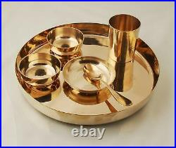 Ayurveda Pure Kansa Bronze Dinner Thali Set, Gold