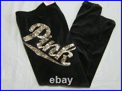 BLING Victoria Secret Pink SEQUIN BLACK VELOUR VELVET HOODIE SKINNY PANT SET XS