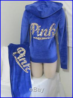 BLING Victoria Secret Pink SEQUIN Blue VELOUR VELVET HOODIE + SKINNY PANT SET S