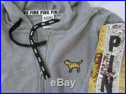 BLING Victoria Secret Pink SEQUIN DOG GRAY GOLD SILVER HOODIE JOGGER PANTS SET L