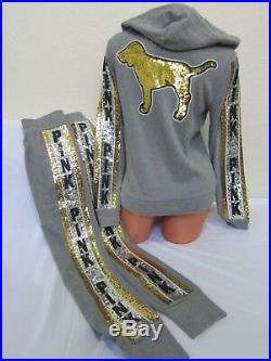 BLING Victoria Secret Pink SEQUIN DOG GRAY GOLD SILVER HOODIE JOGGER PANTS SET S
