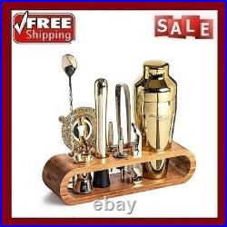 Bartender Kit 10-Piece Bar Tool Set with Stylish Bamboo Stand Perfect Home Barten