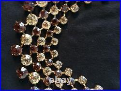 Beautiful Vintage Gold, Bronze & Chocolate Stone Choker Perfect Round Prong Set