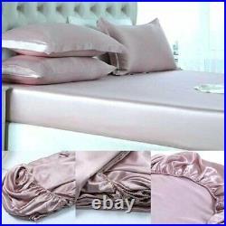 Bedify Bedding 100% Pure Silk Satin Sheet Set 7pcs, Silk Fitted Sheet 15''