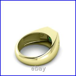 Bezel Set Emerald Male Ring Pure 10K Yellow Gold with 0.06ct Diamonds All Sizes