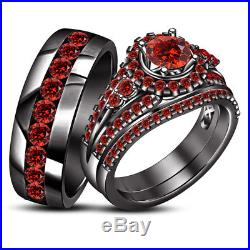 Black Gold Over Pure 925 Silver Red Garnet Wedding His Her Trio Bridal Ring Set