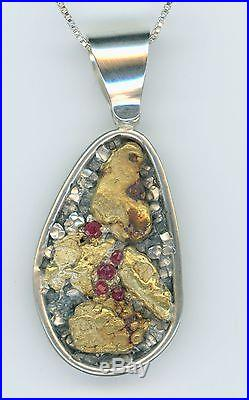 Brian P Snyder Cheyenne Pure Gold Nugget Bullion Set In Sterling Silver 7285