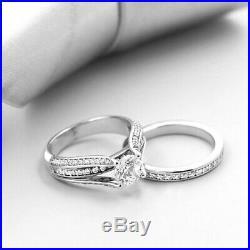 Bridal Engagement Wedding Band Ring Set 10k Real White Pure Gold Round Diamond