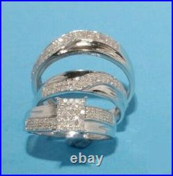 Bride & Groom Natural Diamond Trio Set Engagement Ring 10k Real White Pure Gold