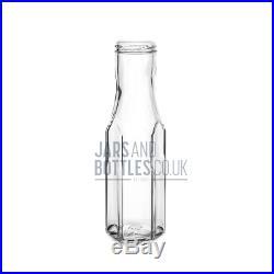 Bulk set 250ml Hexagonal Bottle perfect for Sauces, Jams, Preserves inc caps