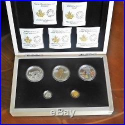 Canada 2014 Cougar 5-Coin Pure Gold, Platinum and Silver Set No Tax