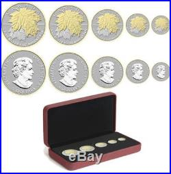 Canada 2014 Gold Plated'Fractional Set of 5 Pure Silver Maple Leaf' Coin Set