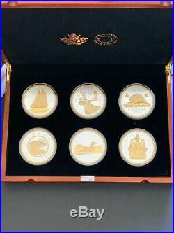 Canada 2015, Big Coins Series Fine Pure Silver 5 oz. 6 Coins Set GOLD FINISH