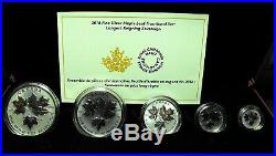 Canada 2016 Pure Silver Maple leaf 5pc Fractional set Gold Plated. S25