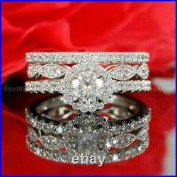 Certified 3 CT Round Cut Trio Set Moissanite Engagement Ring Pure 14K White Gold
