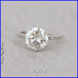 Certified Moissanite Bridal Set Engagement Ring Pure 14K White Gold 2.50CT Round