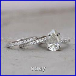 Certified Moissanite Trio Set Engagement Ring Pure 14K White Gold 3 CT Pear VVS1