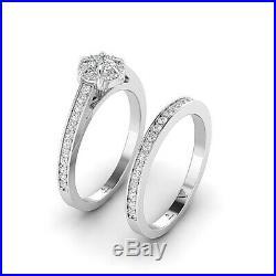 Charles & colvard Real Moissanite Engagement wedding Ring Set FG/VVS Pure Gold