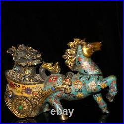 China Gold plating of pure copper Cloisonne set Gem Horse Chinese Cabbage statue
