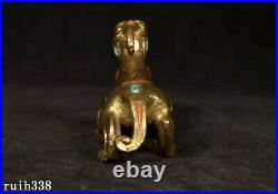 China Liao Dynasty Pure copper gold Hand Carved set Coral Turquoise beast