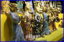 China Old palace Pure Bronze Gold Gilt cloisonne animal twelve Zodiac Statue Set