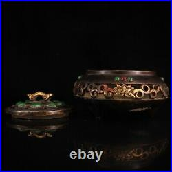 China Pure copper gilded with gold set gemstone Old jade incensory