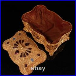 China Republican China Gold plating of pure copper set Cloisonne Jewelry box