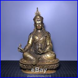 China antique collection Pure copper set gemstone Gilded Buddha