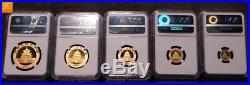 China full set Panda 2004 1,9 oz pure Gold NGC graded 5 coins