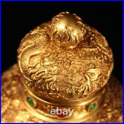 China the Qing dynasty Pure copper gilding set gemstone Dragon pot
