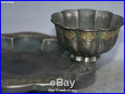 Chinese Pure Silver 24K Gold Gilt Dynasty Place Lotus Flower Cup Plate Dish Set