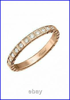 Chopard Ice Cube Pure Rose Gold Half-set Diamond Ring, Size