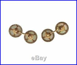 Classic Real Button Look Pure 10k Two Tone Gold With Round Shiny CZ Cufflink Set