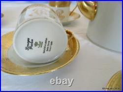 Coffee set in Porcelaine of Limoges Thistle gold by Chastagner 6 cups perfect