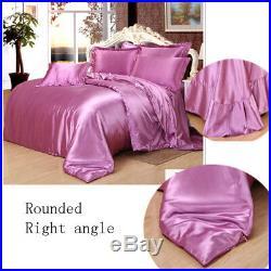Comfort Mulberry Pure Colors Silk Sheet Quilt 4 Piece Bed Sheet Set 220240cm