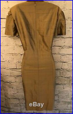Condici Set Pure Silk Antique Gold Dress and Jacket Wedding UK 16 US 12 EU 44