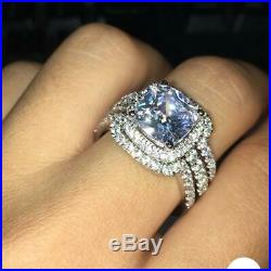 Cushion Diamond Solid 10k White Real Pure Gold Ladies Engagement Ring Band Set