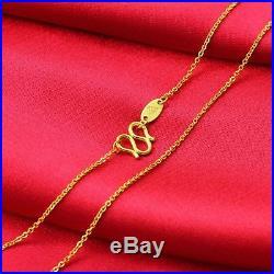 Custom-made Pure 999 24K Yellow Gold Chain Set O Link U Shape Necklace 35cm