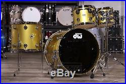 DW Collectors Pure Maple 4pc Drum Set Gold Top Gloss with Chrome Hw