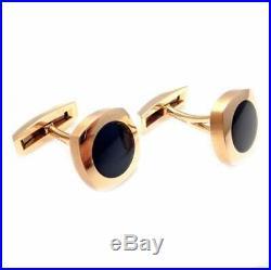 Dark Black Round Onyx In Pure 10K Rose Gold Men's Simple Wedding Cufflinks Set